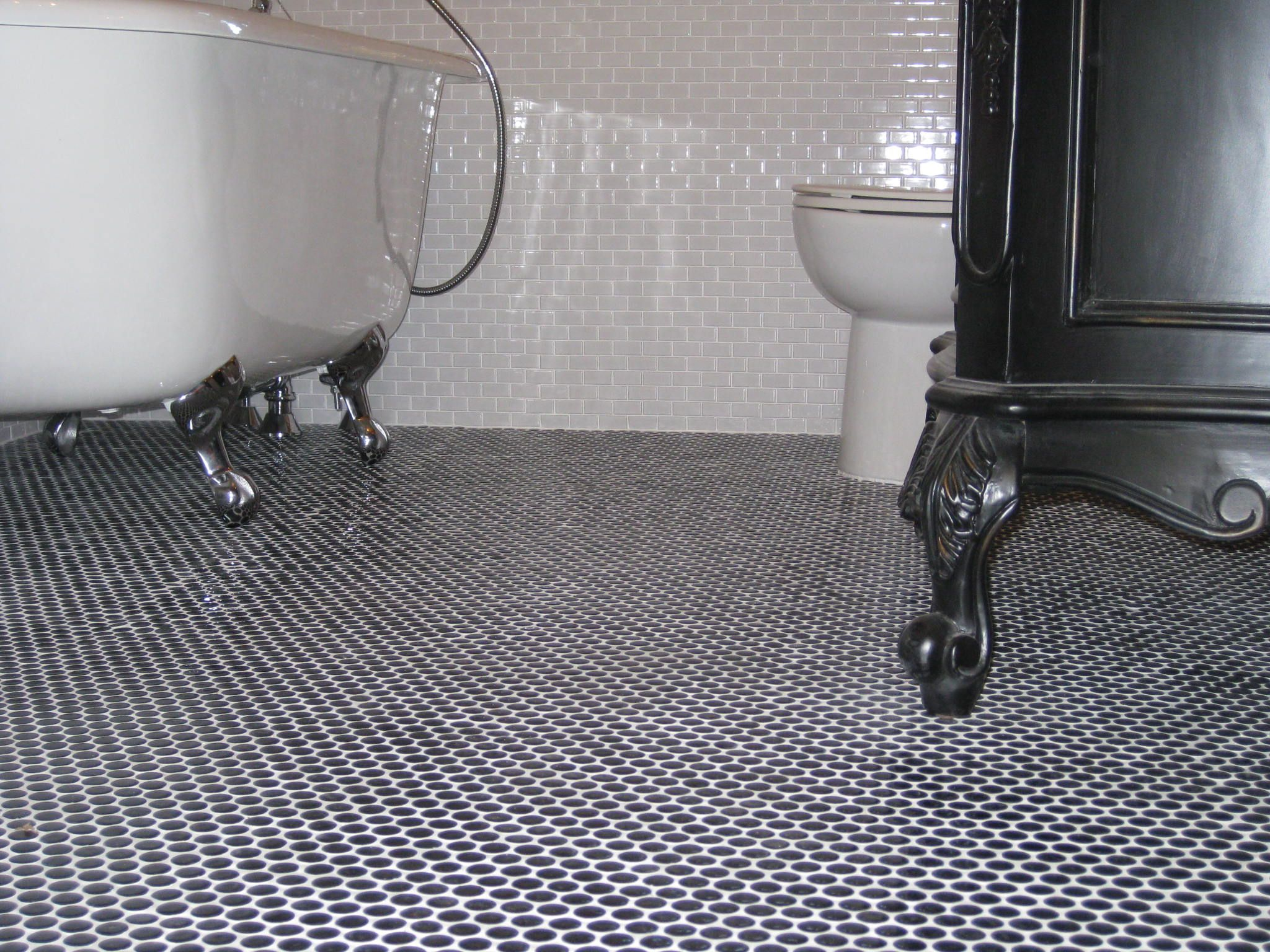 Clawfoot Tub Black Penny Round Tile Floor And Black Belle Foret