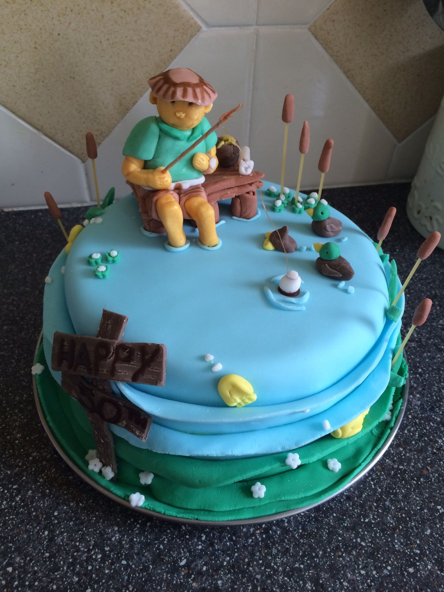 Fishing 50th fisherman themed men\'s birthday cake | Tylor ...
