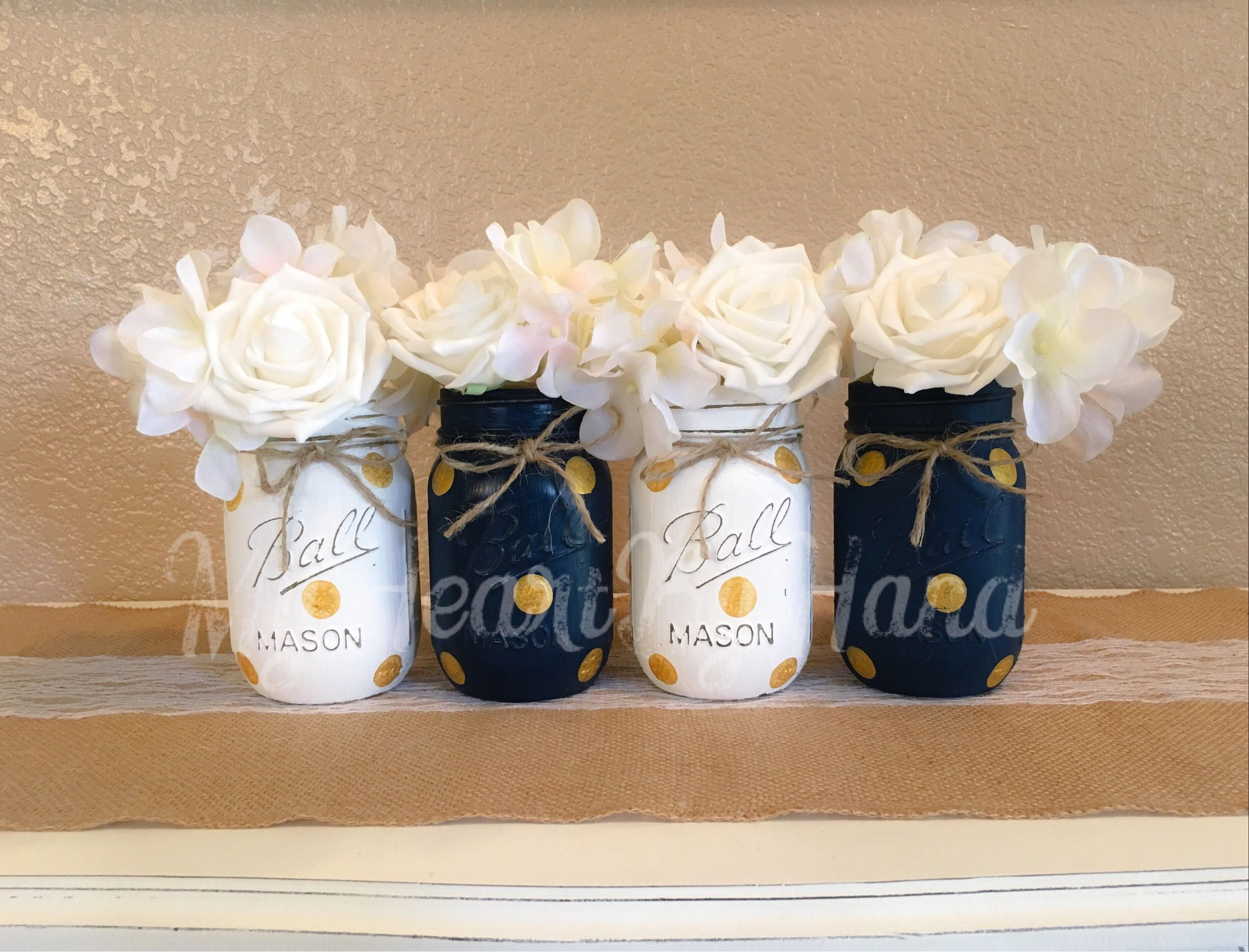 Nautical Baby Shower Centerpiece, Navy Blue And Gold Mason Jars,