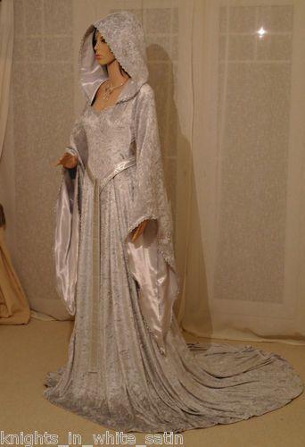Medieval Gothic Renaissance Wedding Dress Elven Hooded The Hobbit ...