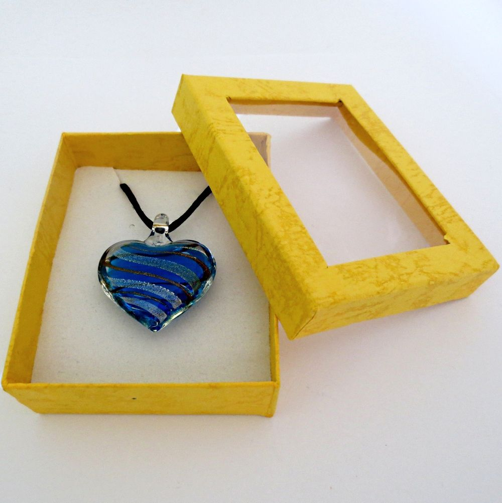 Murano Glass Pendant... Turquoise & brown with silver & gold foil