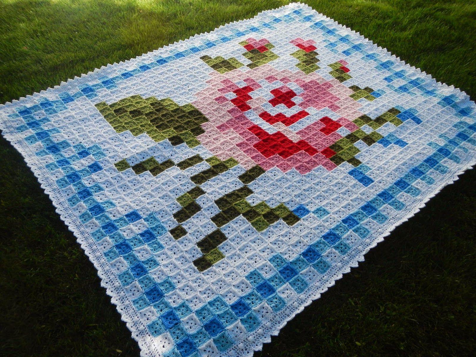 Apple Blossom Dreams: La Vie en Rose Afghan AND Border Pattern ...