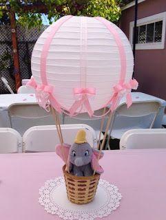 12 Centros de mesa con forma de globos aerostáticos para baby shower