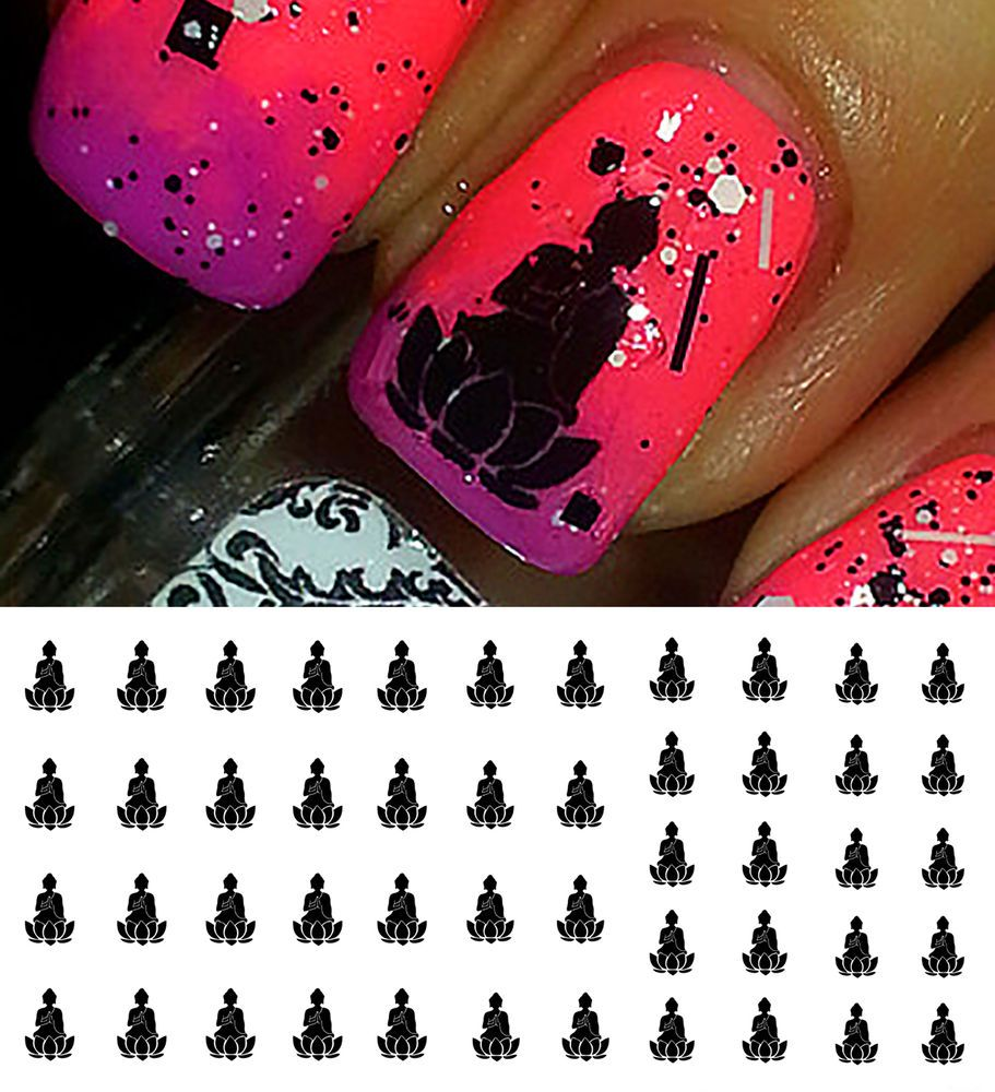 Lotus Buddha Nail Art Waterslide Decals Salon Quality