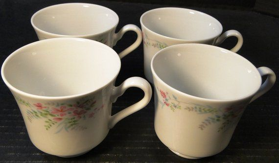 FOUR Mikasa Fern Rose Tea Cups L2005 Set of 4 EXCELLENT in 2018