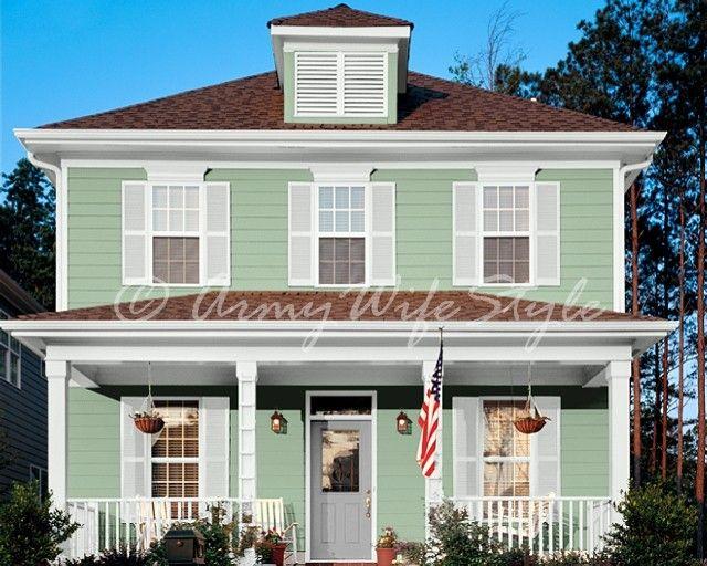 Colonial revival sea green sw color exterior pinterest colonial and green for Colonial revival stone exterior paint