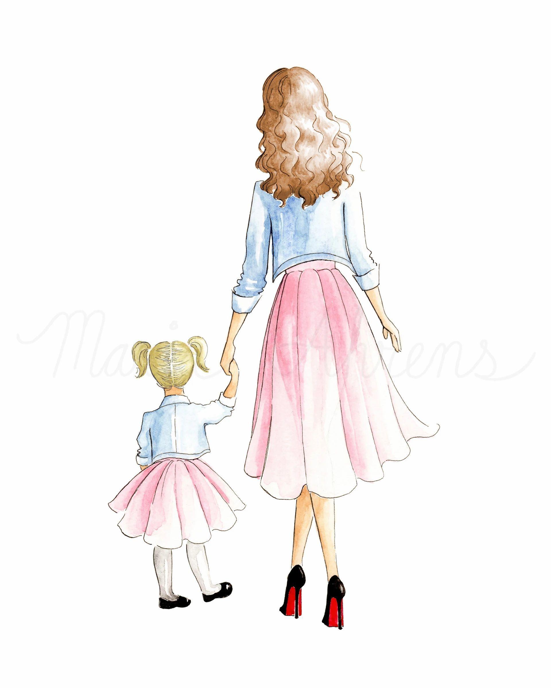 Customizable Mother Daughter Fashion Illustration Art Print gift for mom, gift for her #motherdaughter #fashionillustration #personalized #artprint #walldecor #homedecor #officedecor #giftsforher