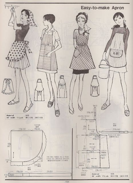 free vintage apron patterns | Vintage patterns | Pinterest | Schürze ...