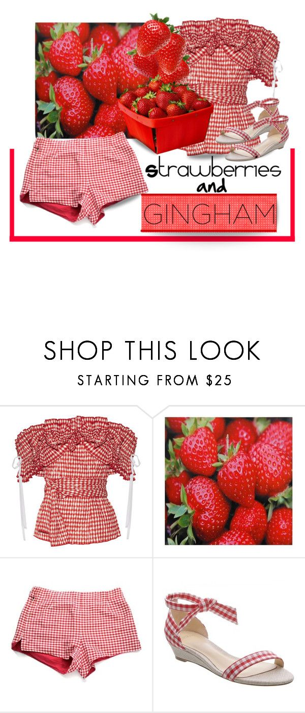 """Strawberries and Gingham"" by outfitsloveyou ❤ liked on Polyvore featuring Rosie Assoulin, Jantzen and Alexandre Birman"