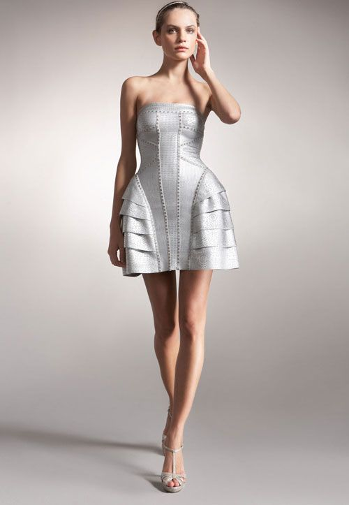 Herve Leger Fashion  Herve Leger Strapless Runway Silver Short ...