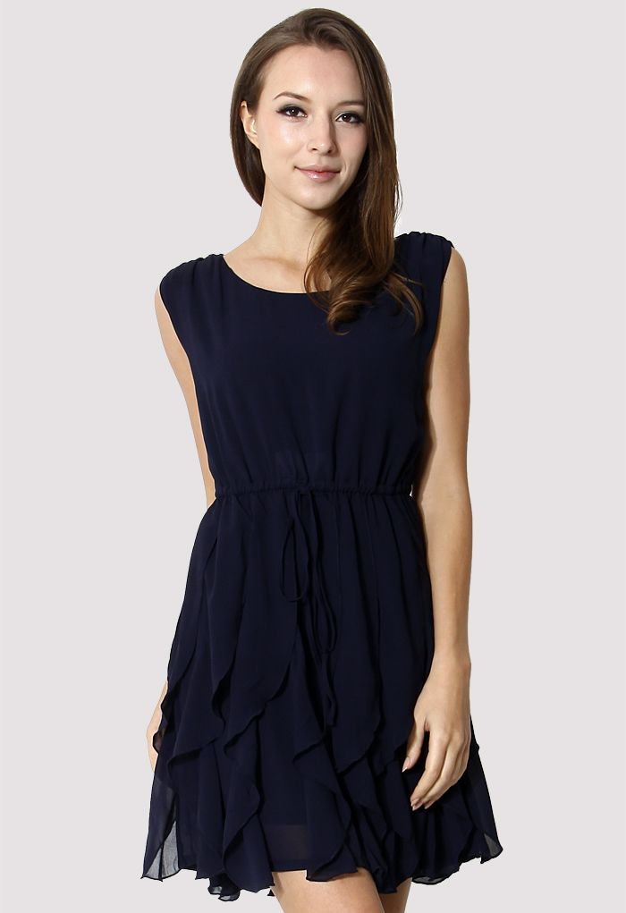Navy Flouncing Sleeveless Chiffon Dress - Dress - Retro, Indie and ...