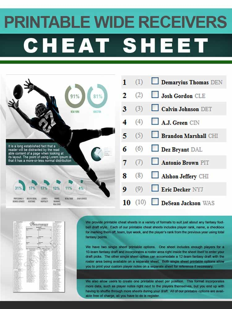 Peaceful image with regard to fantasy football cheat sheets printable
