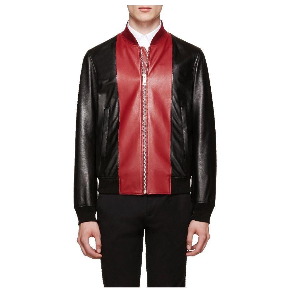 Blouson Fashion Biker Jacket Mens In 2021 Mens Black Jacket Red And Black Jacket Leather Bomber Jacket [ 1000 x 1000 Pixel ]