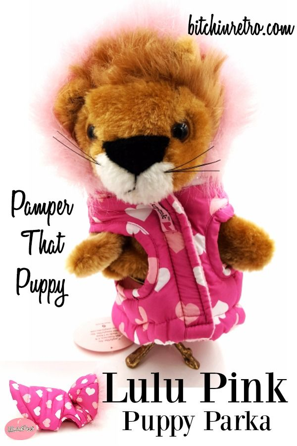 This puppy parka is adorable! Pink and white heart polka dots a puffy quilted coat with a soft flannel lined interior. Hoodie snaps to back of coat if desired, and button hole at neckline for leash.  #dog #dogs #puppies #dogaccessories #pink #giftsfordogs #giftsforpuppies #bitchinretro