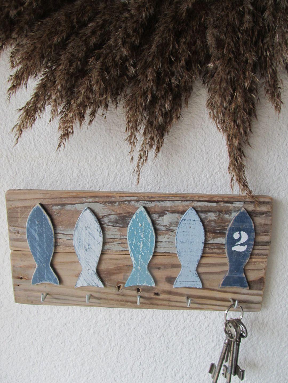 Accroche porte clef cinq poissons sur bois flott - Porte cles en bois ...