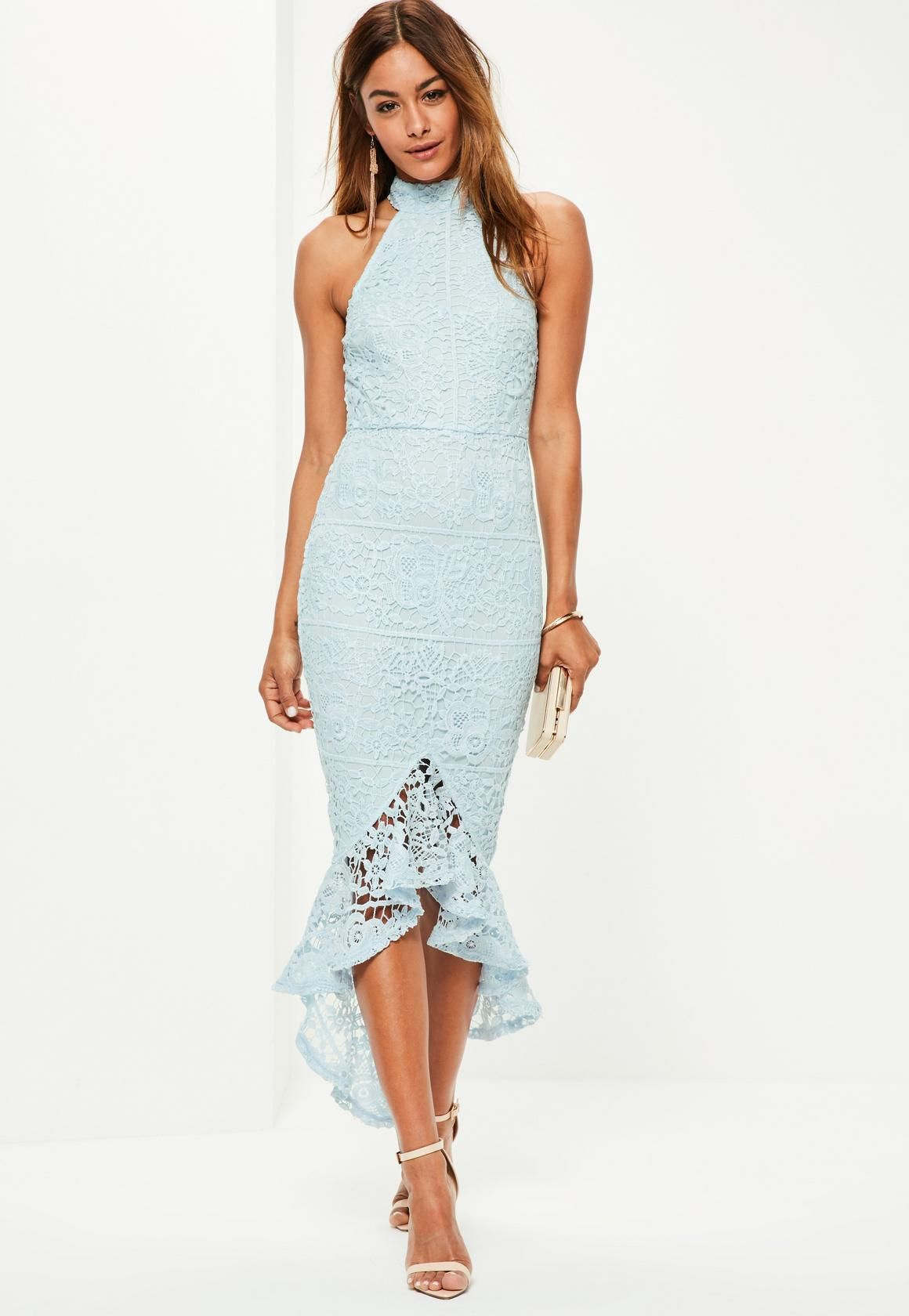 68048f5fab66 Missguided - Blue Lace High Neck Fishtail Midi Dress | Inspiration ...