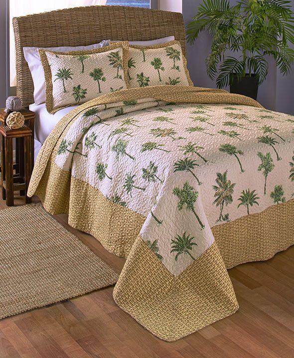 3 Pc Coastal Seashell Or Palm Tree Theme Quilt Set Full Queen King Size Reversible Shams Tropical Queen Bedding Sets Tropical Bedding Tropical Home Decor
