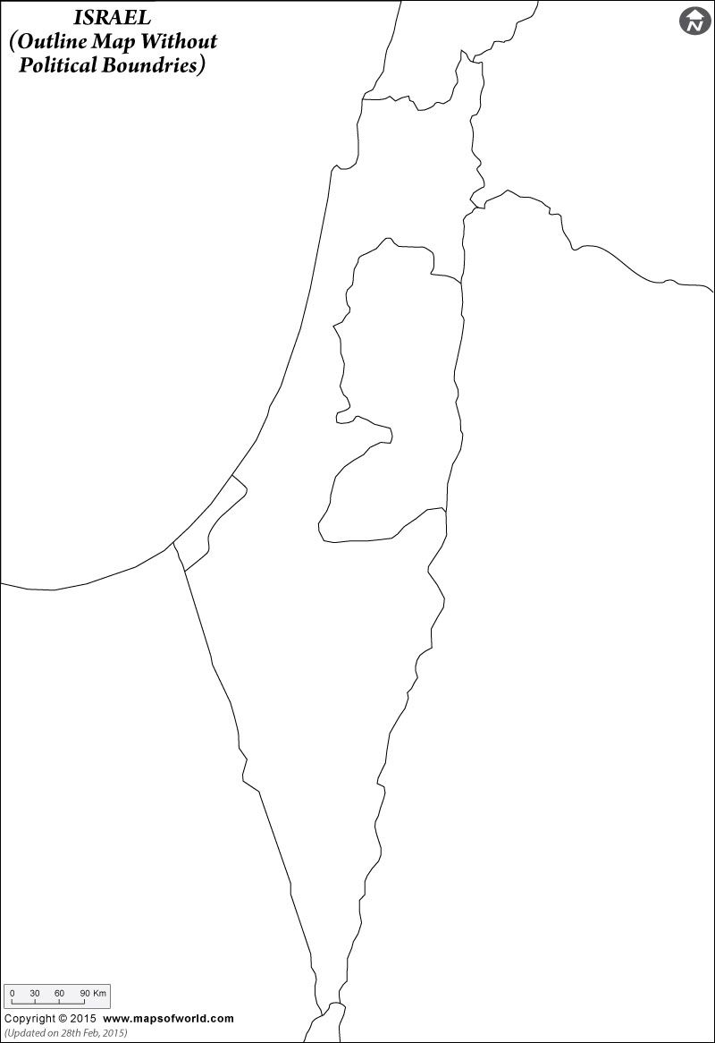 Blank Map Of Israel Click to view and print the #Israel #Blank #Map with or Without