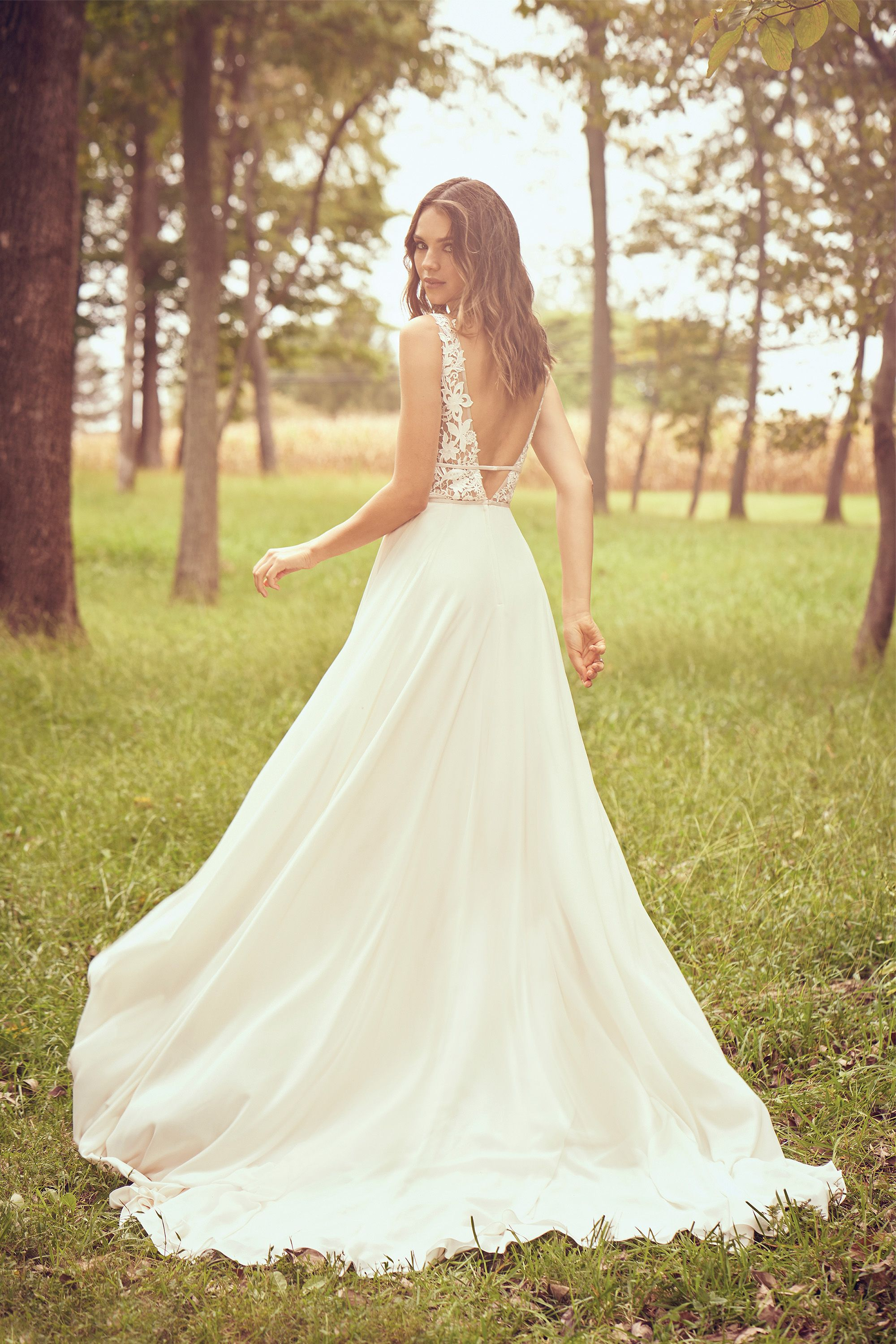 Lillianwest Style 66059 Chiffon A Line Dress With Plunge Illusion V Neck Absolutehavenbridal Lillian West Bridal Wedding Dresses Wedding Dresses Brisbane