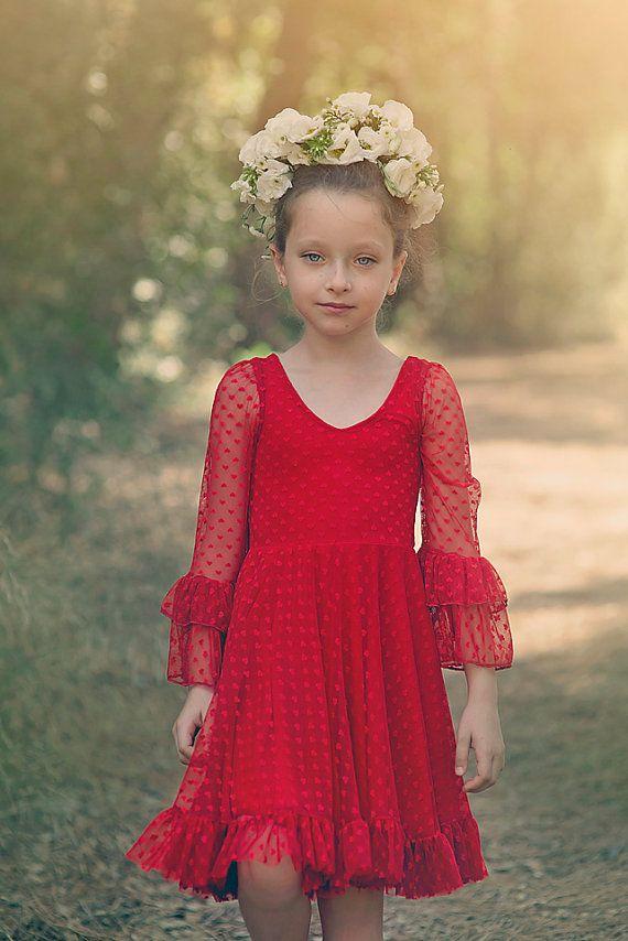 b253959a7389 Girls Red Lace Christmas Dress Twirly Christmas Dress by Bubale1