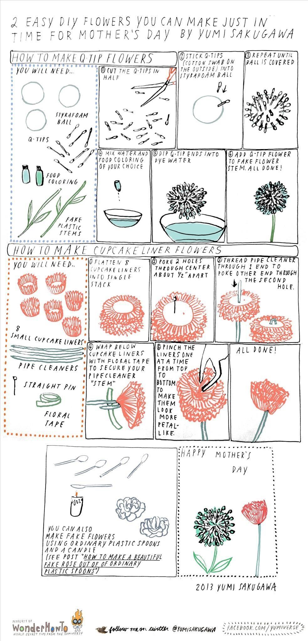 How to Make Your Mom Flowers Using Q-Tips or Cupcake Liners, Just in Time  for Mother's Day