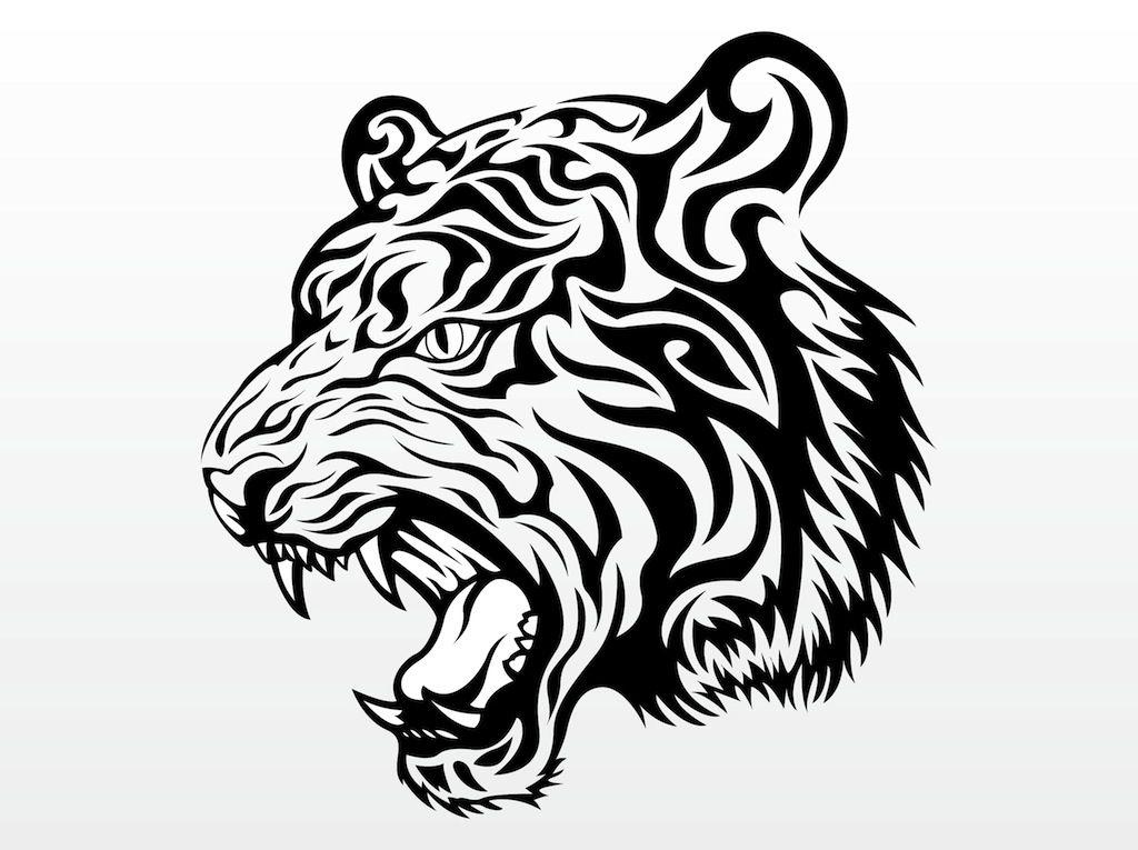 Freevector Tiger Head Vector 1 Jpg 1024 765 Tatuagem De Leao Tribal Tatuagem De Leao Tigres