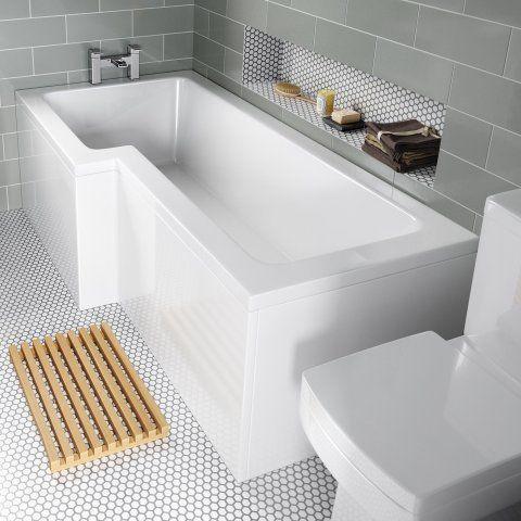 1700x850mm Left Hand L Shaped Bath L Shaped Bath Shower Over Bath Small Bathroom
