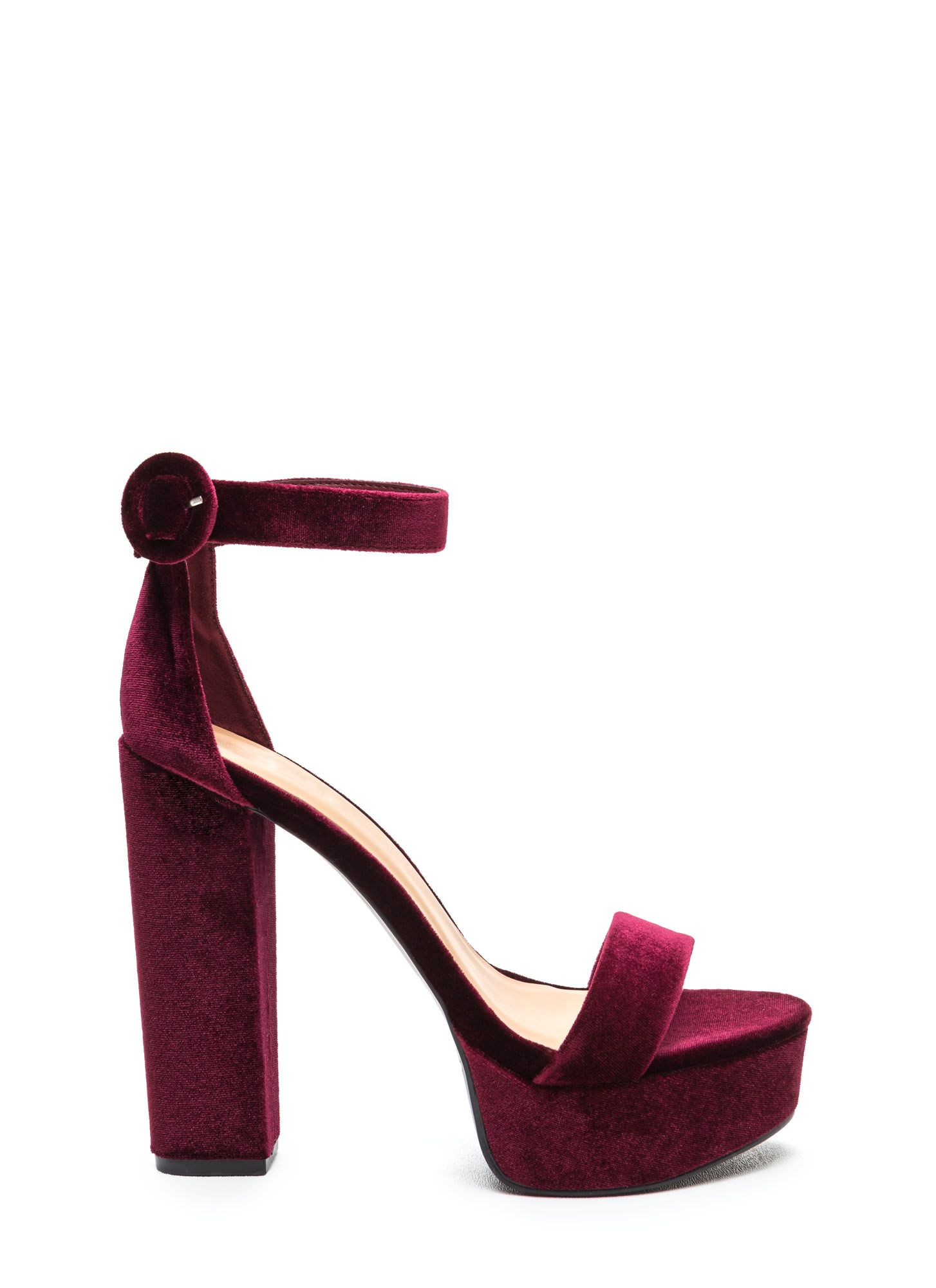 ff0cdec4e34 Chic Vixen Velvet Chunky Platform Heels BURGUNDY BLACK BLUSH GREEN HOTPINK  GREY - GoJane.com