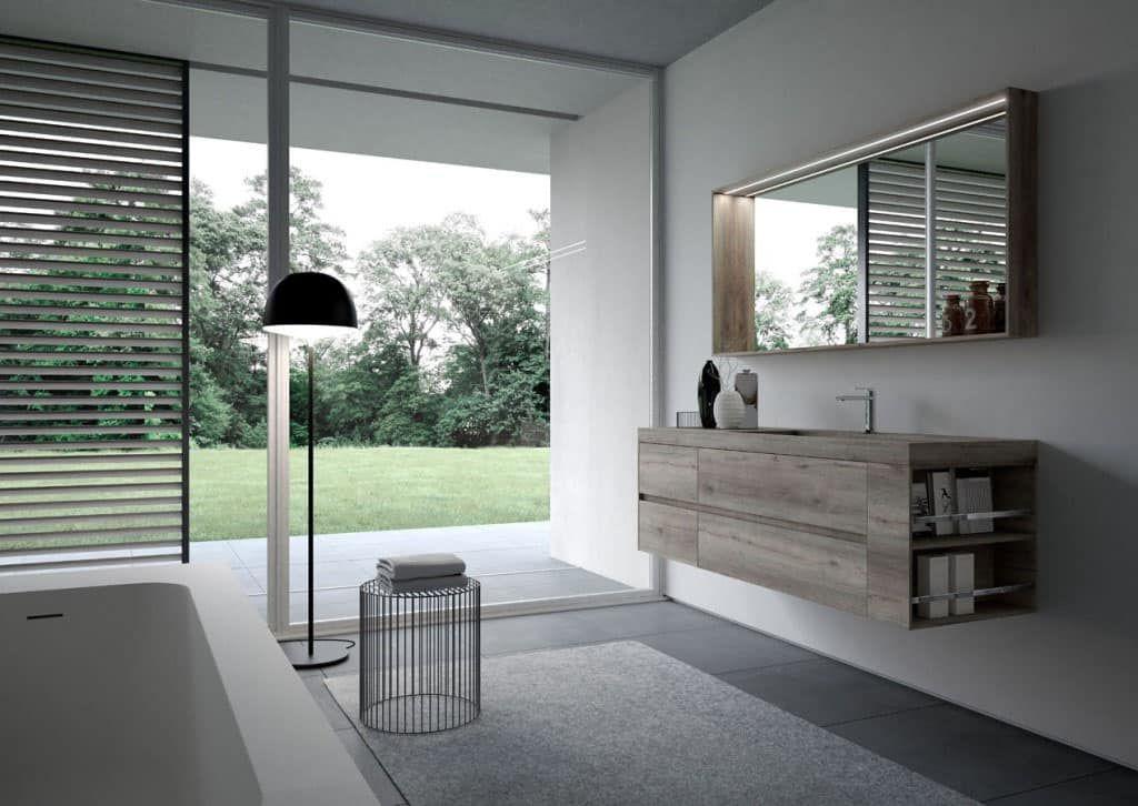 Led Bagno ~ Nyù comp mobile da bagno minimale con specchiera e luce a led