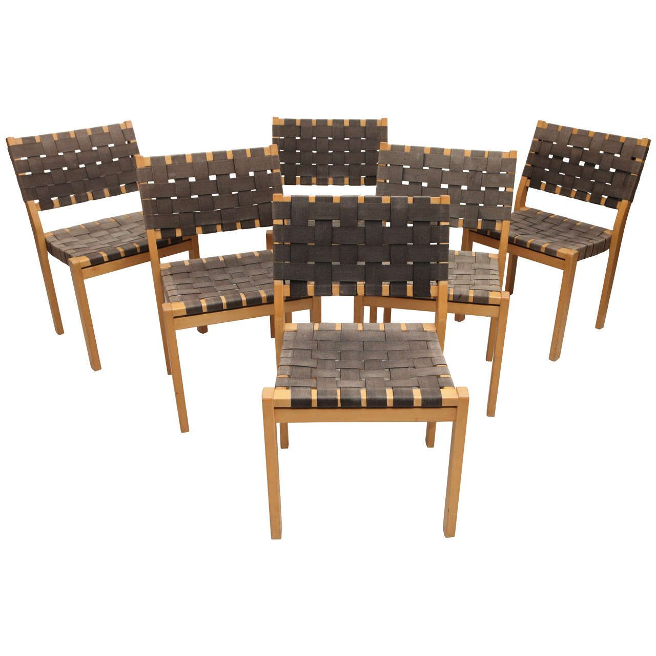 Wonderful Set Of Six Alvar Aalto Woven Seat Dining Chairs