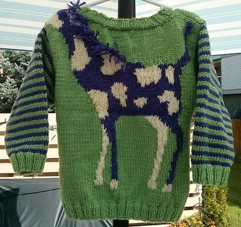 Vintage Knitting Pattern Kids Childs Knit Giraffe Pullover ...