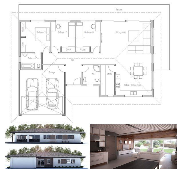 Small House Ch225 Small House Design Modern Style House Plans House Plans