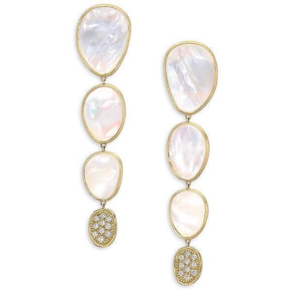 bfe767cd9e2d5c Marco Bicego White Mother-Of-Pearl & 18K Yellow Gold Drop Earrings ($5,450)  ❤ liked on Polyvore featuring jewelry, earrings, gold earrings, yellow gold  ...