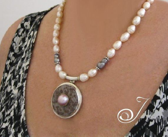 5b0052d15e99d Nude Pink Pearls with Pink Mabe Pearl on Lepidolite Donut Pendant ...