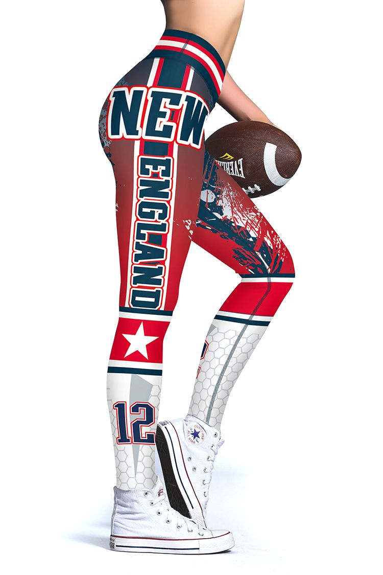 New Officially Licensed N F L No 12 New England Patriots Football Edtion Official Team Colorful Leggings New England Patriots Gear Womens Leggings Pattern