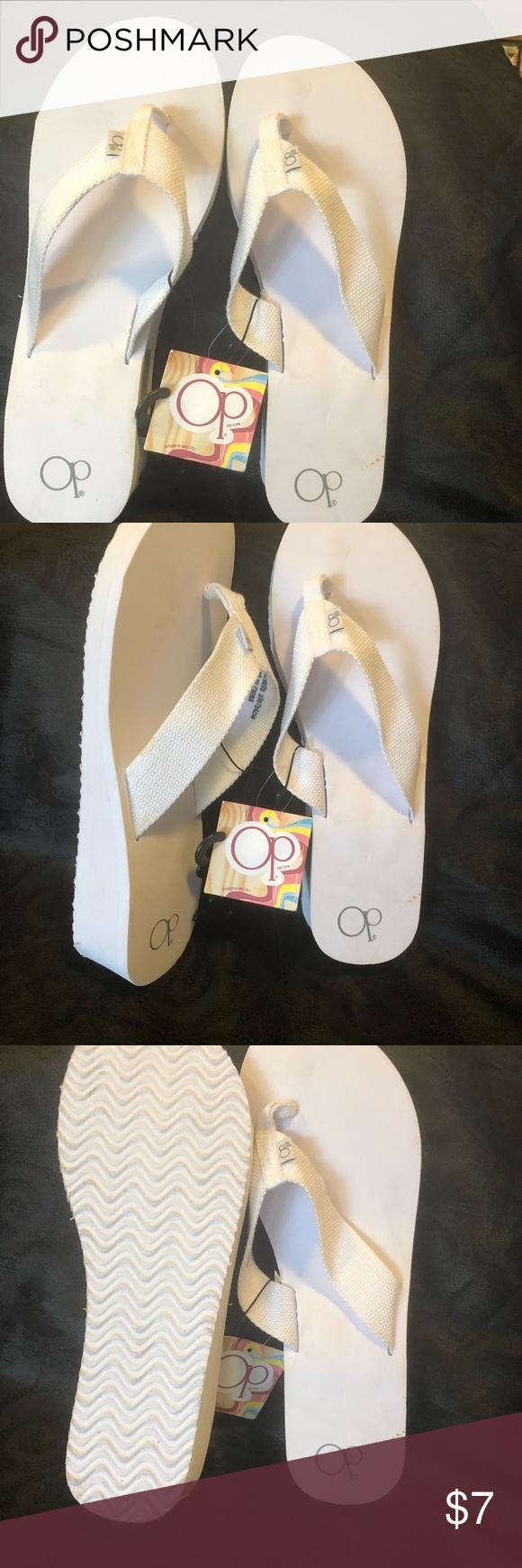 18da52cf628365 Op ocean pacific flip flops white White canvas strap flip flops. OP Shoes  Sandals