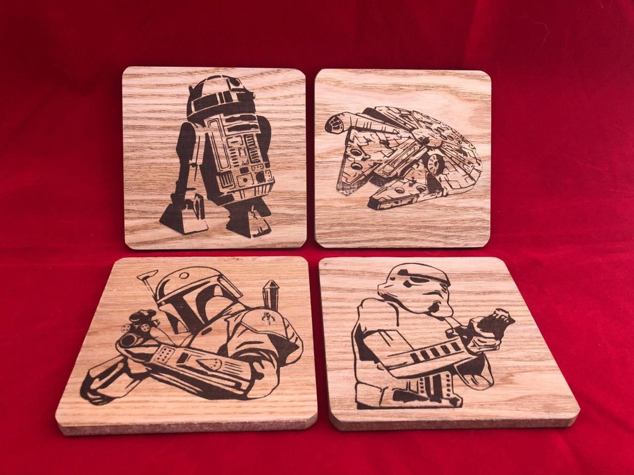 STAR WARS Wooden Coaster set - CNC Laser engraved - Boba Fett R2D2  Stormtrooper  a77966c3a