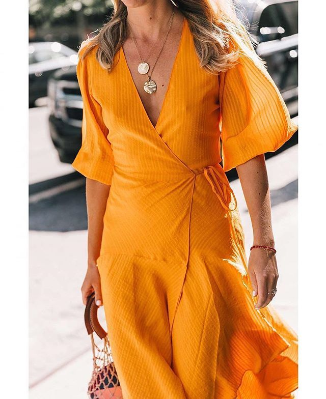 @lisa.aiken In Wilkie Seersucker Wrap Dress #ganni