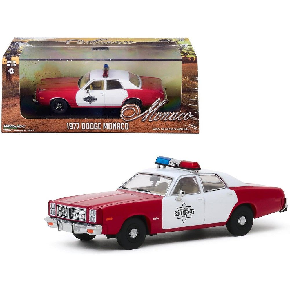 "Photo of 1977 Dodge Monaco Burgundy and White ""Finchburg County Sheriff"" 1/43 Diecast Model Car by Greenlight"