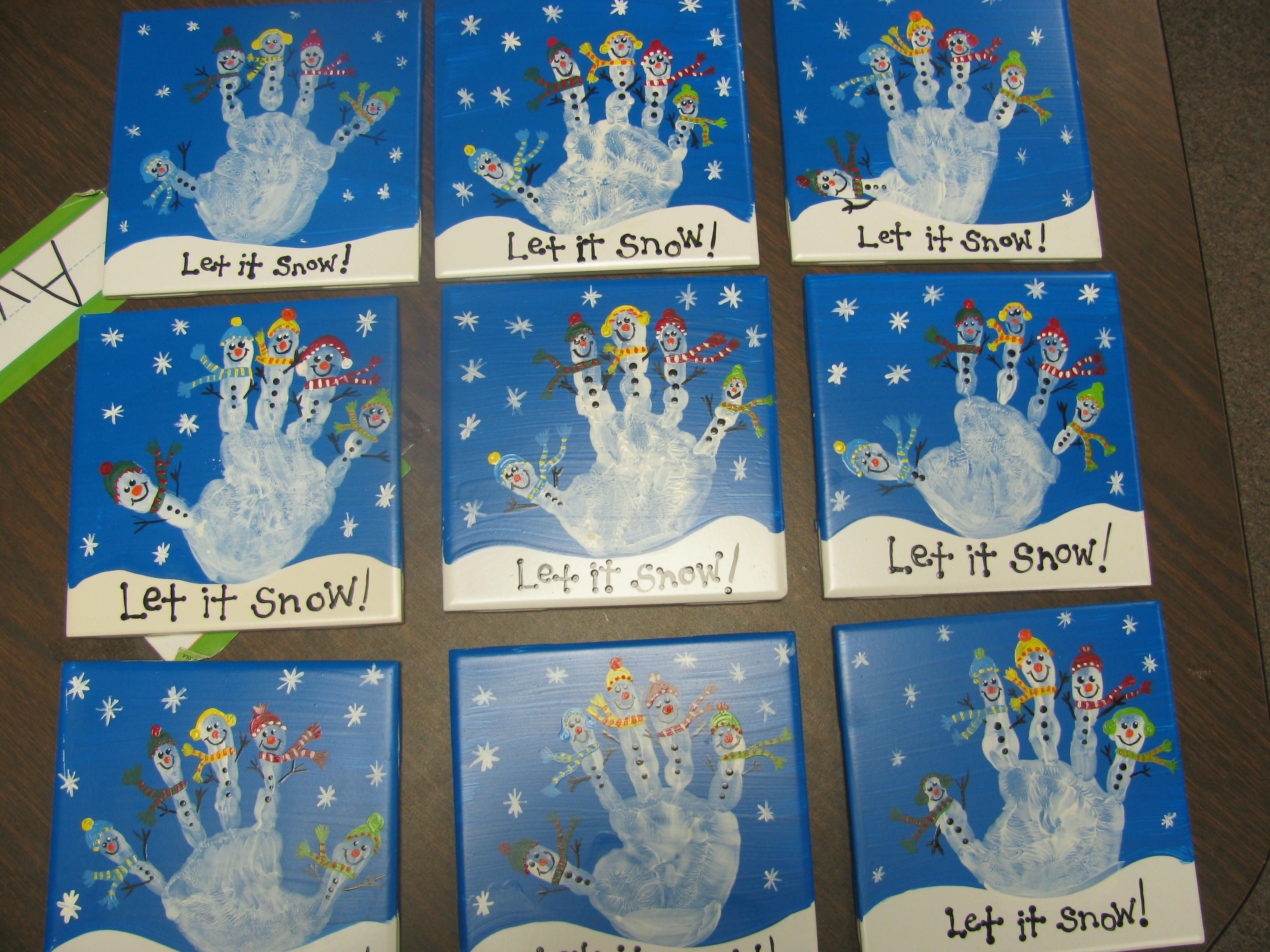 Handprints I made for the parents in my preschool class as a gift ...