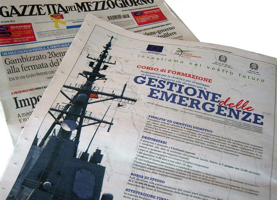 """Gazzetta del Mezzogiorno - Pubblicità Corso di Formazione """"Gestione delle Emergenze"""""""