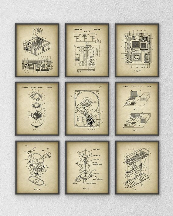 Ultimate Computer Patent Wall Art Poster Set Of 9 Computer Geek Home Decor Computer Geek Gifts Art Print Set