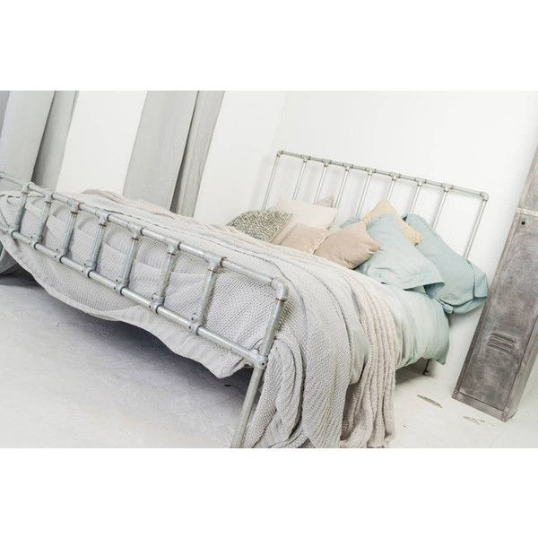 Urban Grain Paula Galvanised Steel Pipe Kingsize Bed Frame (£1,395) ❤ liked on Polyvore featuring home, furniture, beds, king size bed, steel furniture, pipe furniture, steel bed and king size furniture