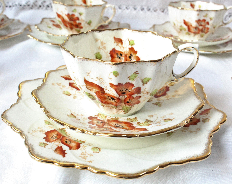 Retro 1960s Elisabettiano Bone China tazza da tè//caffè Tazza E Piattino