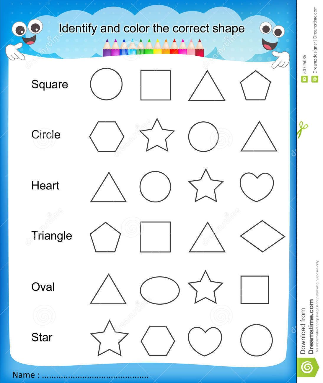 Worksheets Pre Kindergarten Worksheets colours worksheet for shapes f