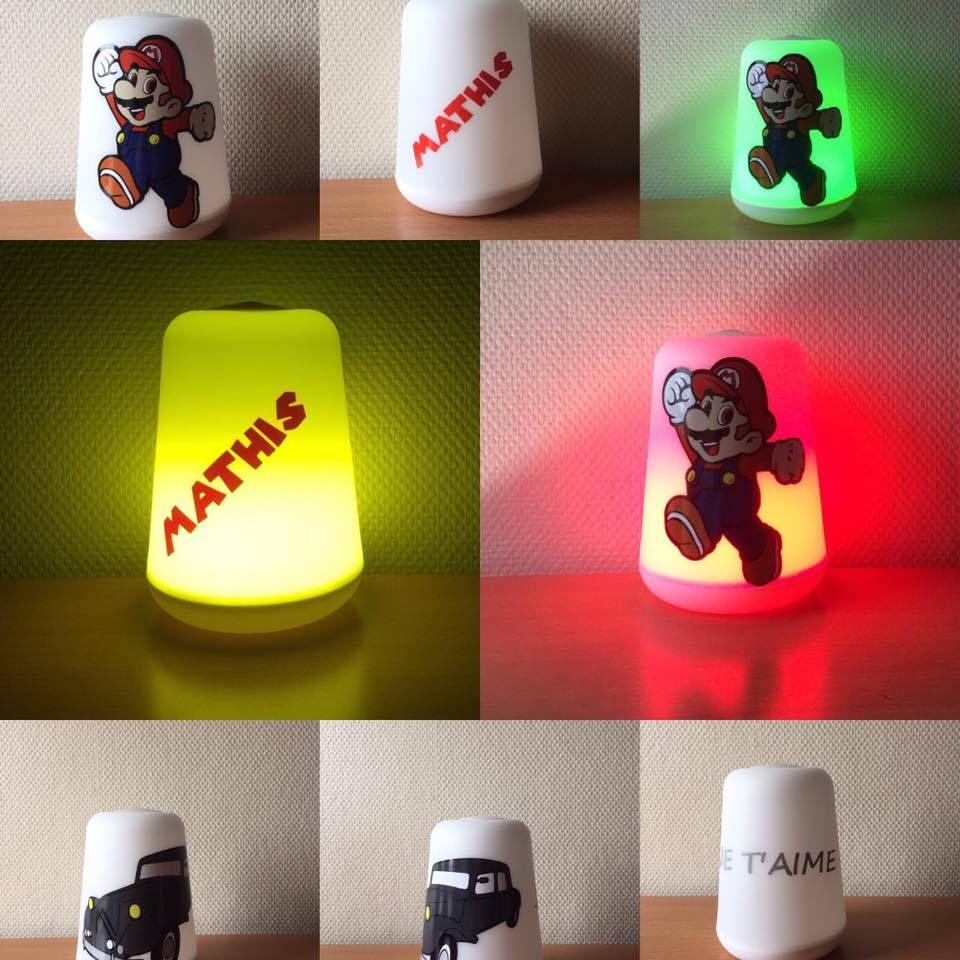 Lampe Led Multicolors Avec Une Personnalisation En Vinyl Multicolor Led Lamp With Customization In Disney Vinyl Or Other Par Veilleuse Led Lampe Led Veilleuse