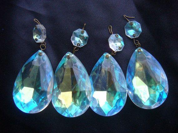 Vintage chandelier crystal prisms clear iridescent ab aurora vintage chandelier crystal prisms clear iridescent ab aurora borealis set of 4 mozeypictures Gallery