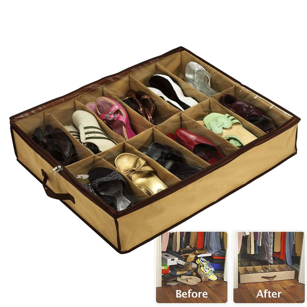 As Seen On TV Shoes Under Space Saving Solution   Under bed shoe storage, Shoe  storage solutions, Shoe storage organiser