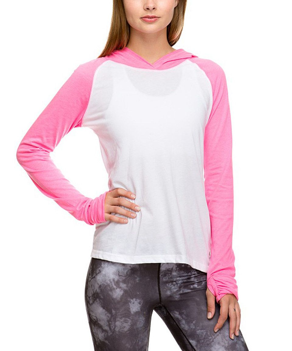 This Soffe White & Neon Pink No Sweat Color Block Hoodie by Soffe is perfect! #zulilyfinds