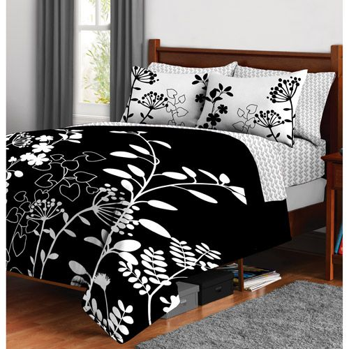 Botanica Bed In A Bag Black And White Floral Print From
